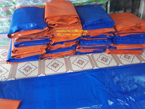 Báo giá bạt nhựa xanh cam 2 da khổ 10m*50m – 85kg