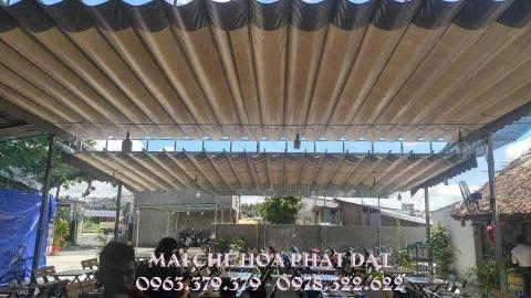 Hình ảnh: Sản phẩm mái che xếp bạt kéo lượn sóng di động Hòa Phát Đạt
