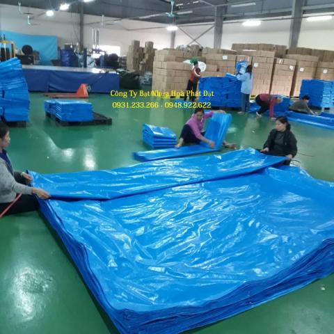 Báo giá bạt nhựa che phủ xanh dương xanh tím khổ 8m*50m – 100kg