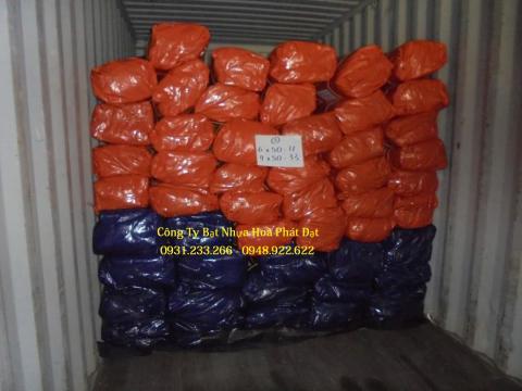 Báo giá bạt nhựa xanh cam 2 da khổ 6m*50m – 51kg